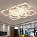 Super-thin Square Flush Light Fixture Simplicity Acrylic Multi Light LED Flushmount in Warm/White