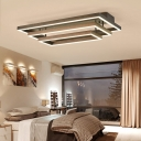 Tiered LED Flush Mount with 3 Rectangle Frame Nordic Style Metal Ceiling Lamp in Neutral