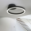 Nordic Style Ultra Thin Ceiling Fixture with Ring Shade Metal LED Flush Mount in Black