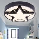 Star LED Flushmount Contemporary Black/White Acrylic Ceiling Light for Living Room Bedroom