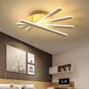 Nordic Style Bar Semi Flush Light Fixture Metal 4/6-LED Ceiling Light in Warm/White for Bedroom