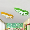 Colorful Rocket Ship Flush Light Nursing Room Acrylic Decorative LED Ceiling Lamp