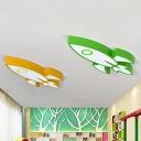 Colorful Rocket Ship Flush Light Nursing Room Acrylic Decorative LED Ceiling Lamp