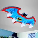 Cartoon Bat Design Lighting Fixture with White Glass Shade Boys Bedroom 3/4 Lights Semi Flush Light