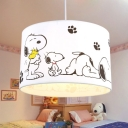 Drum Shade Pendant Lamp with Cartoon Dog Baby Kids Room Fabric Single Light Pendant Light