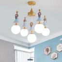 Milky Glass Shade Chandelier Lamp with Lovely Girls Decoration Brass Finish 5 Heads Hanging Light