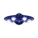 Navy Blue UFO Shape Suspended Light Metal 6 Heads Chandelier Lamp for Boys Bedroom