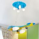 6 Lights Aircraft Hanging Lamp Contemporary Kindergarten Metal Flush Light in Blue