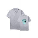Trendy Rapper Skull Printed Summer Dri-Fit Breathable Polo Shirt for Men