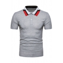 Men's Contrast Collar Short Sleeve Two-Button Soft Touch Slim Fit Polo Shirt