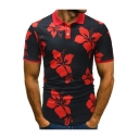 Men's New Fashion All Over Floral Printed Short Sleeve Slim Fit Polo Top