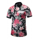 Summer New Stylish Floral Printed Black Short Sleeve Polo Shirt for Teenagers
