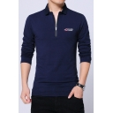 1 New Trendy Simple Letter ADVERTISING Logo Print Long Sleeve Cotton Fitted Polo Shirt for Men