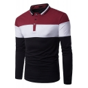 Fashion Rib Collar Colorblocked Long Sleeve Men's Casual Regular Fit Polo Shirt