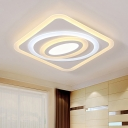 Contemporary Quadrate LED Ceiling Lamp with Oval Decorative Acrylic Flush Mount in Warm/White