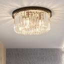 Black Round Ceiling Fixture Modern Chic Crystal Multi Light Flush Mount for Hallway Corridor