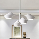 Geometric Metal Shade Suspension Modern Fashion 4 Heads Chandelier Lighting in White Finish
