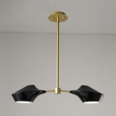 2 Lights Linear Chandelier Ceiling Light with Black Metal Shade Post Modern Art Deco Suspension