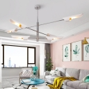 Contemporary Oblique Suspension 6 Lights Art Deco Chandelier Lighting with White Metal Shade