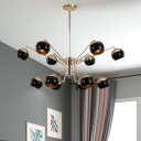 Modernism Spherical Hanging Ceiling Lamp Metal Multi Light Decorative Chandelier Light in Brass