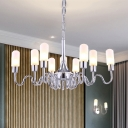 Nickle Finish Tubed Chandelier Modernism Height Adjustable Opal Glass Multi Lights Suspended Light
