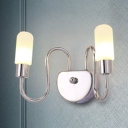 Nordic Style Curved Arm Wall Lamp with Tubed Frosted Glass Shade 2 Lights Sconce Light in Chrome