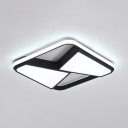 Black Square Ring LED Flush Light with Geometric Shade Modernism Metal Decorative Ceiling Lamp