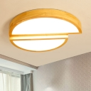 Oak Semicircle LED Ceiling Flush Mount Natural Modernism Flush Light Fixture in Wood for Restaurant