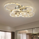 Crystal Multi Ring Semi Flush Mount Luxury Modern Decorative LED Surface Mount Ceiling Light