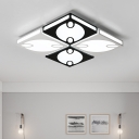 Modern Fashion Square LED Flushmount with Oval Design Metallic Ceiling Light in Black and White