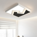 Modernism Quadrate Ceiling Light with Geometric Acrylic Shade LED Ceiling Flush Mount in Black and White