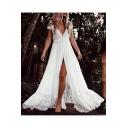 Women's Summer Fashion Lace-Panelled Short Sleeve V-Neck White Floor Length Beach Dress