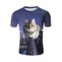 Fashion 3D Rope Cat Print Blue Short Sleeve T-Shirt
