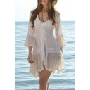 Women's Summer New Fashion V-Neck Lace Trimmed White Mini A-Line Beach Dress