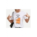 Perfume Bottle Pattern Basic Casual Loose Fit White T-Shirt