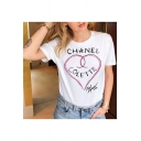 Unique Heart Letter Printed Short Sleeve Round Neck White T-Shirt