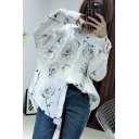 Summer New Arrival Rose Floral Printed Long Sleeve Cozy White Button Shirt