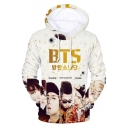 BTS Figure Pattern Casual Relaxed Long Sleeve Pullover Drawstring Hoodie