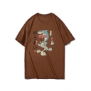 Funny Cartoon Boxing Shark Printed Summer Loose Fit Short Sleeve T-Shirt for Guys