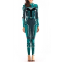 Captain Marvel Cool 3D Print Long Sleeve Skinny Fit Blue Cosplay Jumpsuits for Women