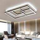 Modern Rectangle LED Ceiling Lamp Metal Eye Protection Flush Mount Lighting in Warm/White