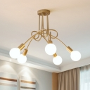 3 Lights/5 Lights Twisted Indoor Lighting Modern Chic Metal Semi Flush Light Fixture in Soft Gold for Restaurant
