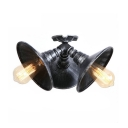 Triple Lights Horn Shape Lighting Fixture Rustic Country Style Metal Semi Flush Mount for Kitchen