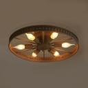 6 Heads Wheel Shape Flush Light Fixture Industrial Loft Style Wrought Iron Indoor Lighting in Centennial Rust