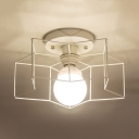 Modernism Wire Guard Ceiling Lamp with Five-pointed Star Metallic 1 Bulb Semi Flush Mount Lighting in Black/White