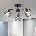 Black Armed Surface Mount Light with Hexagon Metal Cage Industrial 3/5 Lights Ceiling Flush Mount