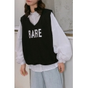 Simple Letter BARE Print White Retro Puff Sleeve Button Down Shirt with Vest