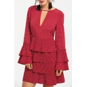 Retro Polka-Dot Printed V-Neck Flared Long Sleeve Layered Mini A-Line Cake Dress in Red