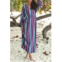 Trendy Ethnic Pattern V-Neck Long Sleeve Tied-Waist Maxi Purple Sheath Dress for Women