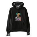 American Rapper Funny Portrait Print Stripe Patched Casual Loose Hoodie